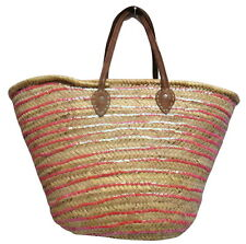 French Market Basket Sparkling Sequin & Leather Straw Bag Striped Pink