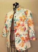 Coldwater Creek MultiColor Floral Linen Jacket 3/4 Sleeve Button Down Top Size 8
