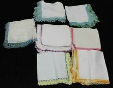 Lovely 7 Vintage White Lace Linen Cotton Ladies Women's Hankie Handkerchief Lot