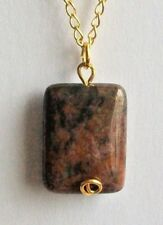 Fancy Jasper Gemstone Pendant and Gold Plated Chain Necklace