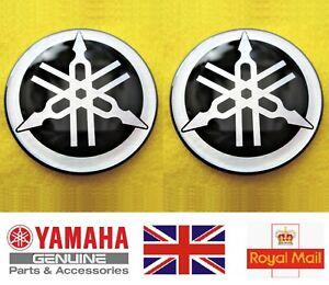 Yamaha Decal Emblem Tank Gel Badge SILVER 45mm YZF R1 R6 YZ FZ1 FJR x 2 GENUINE