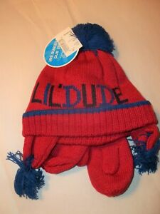 The Childrens Place Lil' Dude Baby Boy Hat & Mittens Set-12-24M-Red-Blue