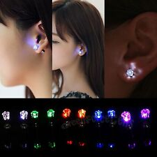 Faddish Unisex LED Earrings Light Up Bling Ear Studs Dance Bar Gathering Jewerly