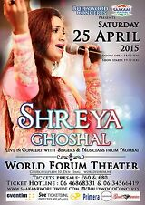 "SHREYA GHOSHAL ""LIVE IN CONCERT"" 2015 HOLLAND TOUR POSTER-Filmi Music, Bollywood"