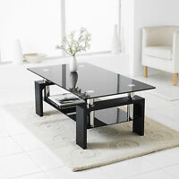 Black Modern Rectangle Glass & Chrome Living Room Coffee Table With Lower Shelf