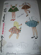 1948 SIMPLICITY 2533-GIRLS POOF or FLARED SKIRT w/wo CROSS OVER STRAPS PATTERN 1