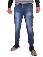 Jeans Pantalone Uomo slim tasche molle caviglie zip elasticizzato slim fit 5708