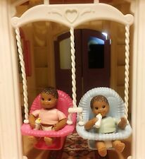 Fisher Price Dollhouse African American Babies Boy & Girl w/Double Swing
