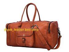 New Men's Vintage Genuine Leather Goat Travel Luggage Duffel Gym Bag Hiking