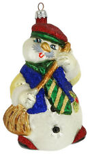 Slavic Treasures Glass Snowman Christmas Ornament White Whistler Mustache Tie