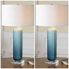 "TWO CAUDINA XXL 30"" FROSTED GROOVED GLASS TABLE LAMPS NICKEL & CRYSTAL ACCENTS"