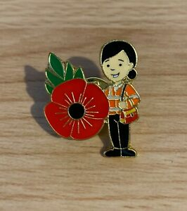 Royal Mail Post Lady Red Flower Pin Badge