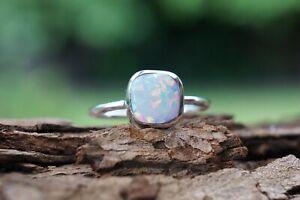 Sterling Silver Ring Opal Gemstone 925 Fine Silver Cushion Handmade Ring