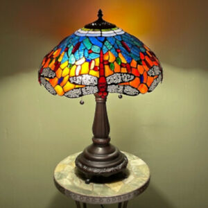 Tiffany Style Stained Glass Dragonfly Table Lamp Blue Red Gold w/ Bronze Finish