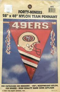 "Vintage~San Francisco 49ers 1997~NEW~28""X 40"" Nylon,Appliqué,Heavy/Duty,Pennant"