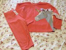 Mini Boden girls 8-9 jersey matching top and cropped leggings unicorn