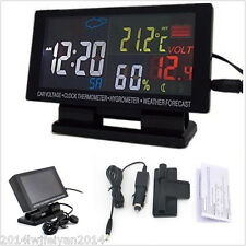 Car Voltmeter Clock Thermometer Hygrometer Weather Forecast LCD Digital Display