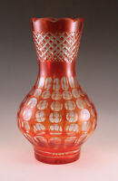 VINTAGE BOHEMIA -HUNGARY  CRANBERRY CUT TO CLEAR GLASS LARGE VASE 11""