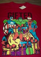 Marvel Comics SPIDER-MAN HULK CAPTAIN AMERICA GIFTED CHRISTMAS T-Shirt 2XL NEW