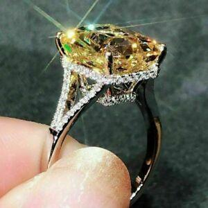 4 Ct Emerald Cut Citrine D/VVS1 Diamond 14K White Gold Finish Engagement Ring