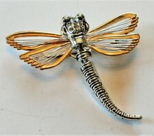 Dragonfly Brooch Or Pendant W/Rhinestones Best Gold & Silver Plate Articulated