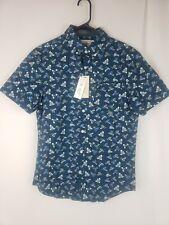 Original Penguin Mens Dark Sapphire Short Sleeve Shirt Sneakers Print Size S