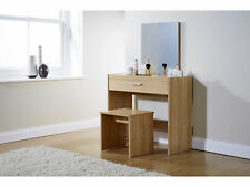 Julia Vanity Dressing Table With Stool & Mirror Oak Make Up 1 Drawer Dresser