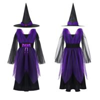 Kids Girls Halloween Costume Outfits Witch Cosplay Dress Party Clothes Hat Sets