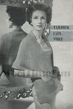 Vintage Knitting Pattern/Instructions 1940s Lady's Cape/Stole/Shawl.  DK Wool.