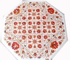 "18"" side marble Coffee Table Top carnelian precious stones Inlay Decor art"