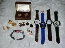 Watch-Cufflinks-Puerto Rico Id Bracelet-More Men's Jewelry Lot-11pcs-Swiss Army