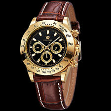 Men's Analog Time Black Face Automatic Mechanical Wrist Watch For Dad Gift