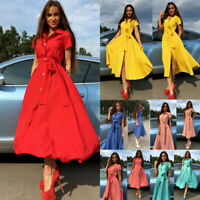 Fashion Women Summer Casual Shirt Dress Party Evening Cocktail Long Maxi Dress N