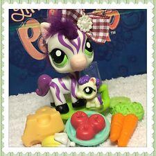 Littlest Pet Shop Zebra #2470 White & Purple Green Eyes Fuzzy Furry Hair Teensie