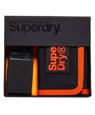 Superdry Lineman Belt & Wallet Gift Set - Black/Orange BNWT