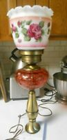 "VINTAGE 22"" CRANBERRY GLASS HAND PAINTED SHADE GWTW BRASS MARBLE TABLE LAMP"