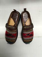 Born Mules Clogs Close Back Leather/cloth Multicolor native Print  Sz 8/39 S118