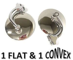 """Pair 4"""" Stainless Peep Mirrors - ONE FLAT, ONE CONVEX - Ford Chevy Mopar MG"""
