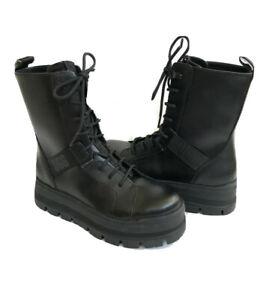 UGG SHEENA BLACK WATERPROOF LEATHER COMBAT BOOTS US 7 / EU 38 / UK 5