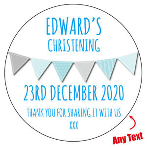 Personalised BANNER Christening Baptism sweet cone gift bag stickers label 605