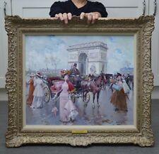 Fine Original Post Impressionist Oil Painting Arc de Triomphe Belle Epoque Paris
