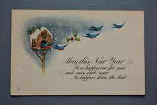 R&L Postcard: Christmas/New Year Greetings, Birds Table House Bluebird, Gartner