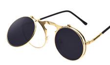 Fashion Retro Vintage Round Flip Up Sunglasses Steampunk Glasses - UK Seller