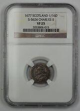 1677 Scotland 1/16 Dollar Silver Coin S-5624 Charles II NGC VF-25 AKR