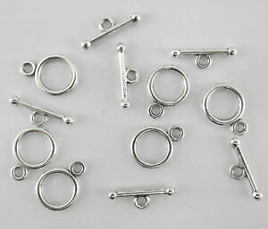 LOT 20 FERMOIRS TOGGLES ROND  ARGENTÉ NEUF,perle,fimo,bijoux -fma022
