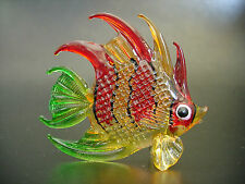 Glass FISH Tropical Aquarium Red Orange & Green Fish Glass Ornament Glass Animal