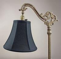Bridge Floor Lamp Shade Deluxe Bell Fine Linen Black Tailor Made Lampshades