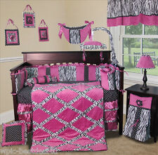 Baby Boutique - Zebra Princess - 14 pcs Crib Nursery Bedding w Lamp Shade