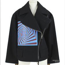 Dries Van Noten Black Wool Belted Waist Optical Illusion Coat Jacket UK8 IT40