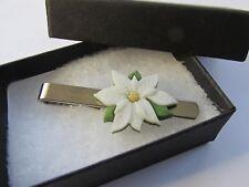 Ivory Cream Festive Poinsettia Flower Christmas Mens Tie Slide Clip Pin - Box